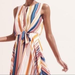 NIB Bold Stripped Asymmetrical Hem Summer Dress